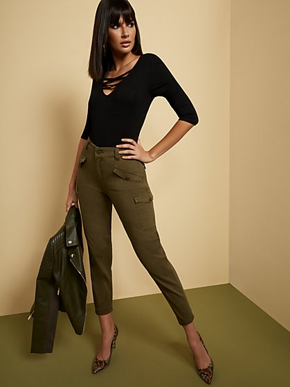 High-Waisted Cargo Ankle Jeans - Olive - New York & Company