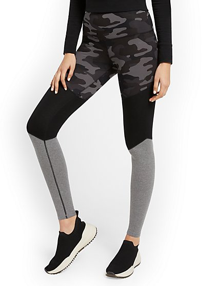 High-Waisted Colorblock Camo-Print Pocket Legging - New York & Company