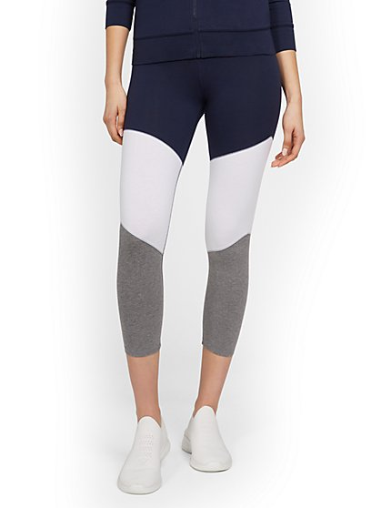 High-Waisted Colorblock Pocket Capri Legging - New York & Company