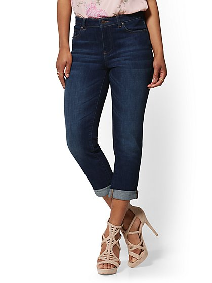 High-Waisted Crop Boyfriend Jeans - Foxy Blue - New York & Company