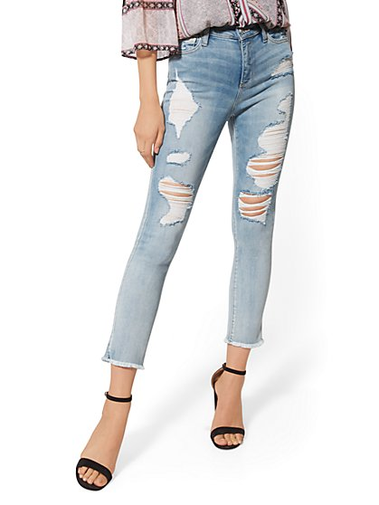 High-Waisted Crop Legging - Blue Sorbet - Ultimate Stretch - NY&C Runway - New York & Company