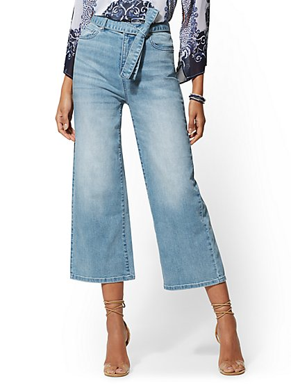 High-Waisted Crop Wide Leg Jeans - New York & Company
