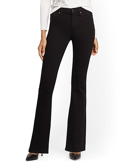 High-Waisted Curvy Barely Bootcut Jeans - Black - New York & Company