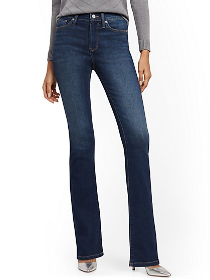 High-Waisted Curvy Barely Bootcut Jeans - Bluebird Blue - New York & Company