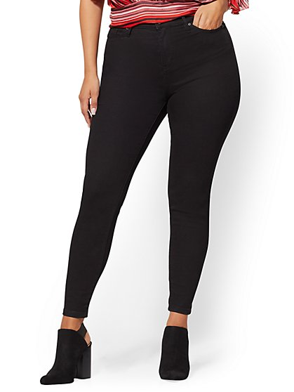 High-Waisted Curvy Super-Skinny Ankle Jeans - Black - New York & Company