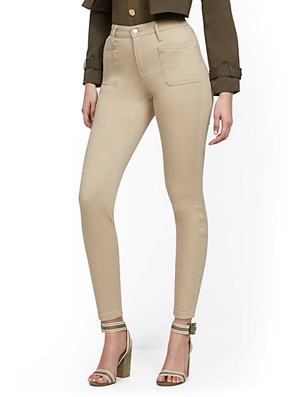 High-Waisted Curvy Super-Skinny Ankle Jeans - Khaki - New York & Company