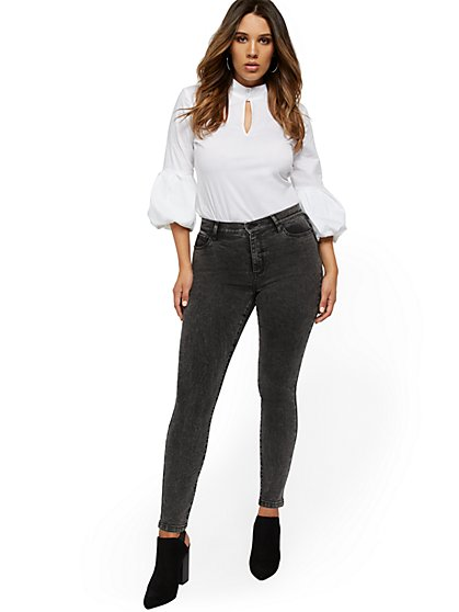 High-Waisted Curvy Super-Skinny Jeans - Dark Grey - New York & Company