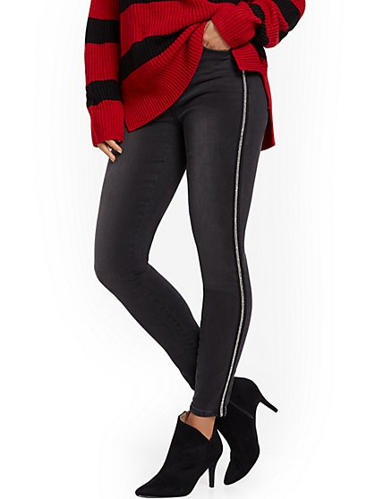 High-Waisted Curvy Super-Skinny Jeans -Jeweled Trim - New York & Company