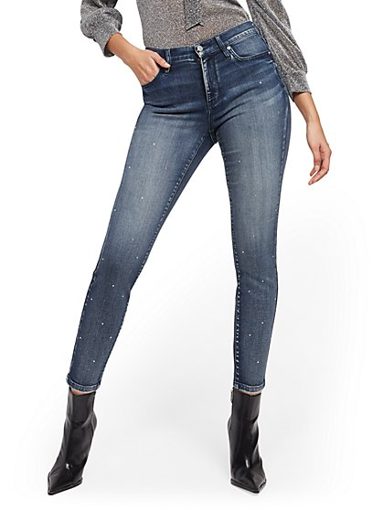 High-Waisted Curvy Super-Skinny Jeans -Rhinestone Accent - New York & Company