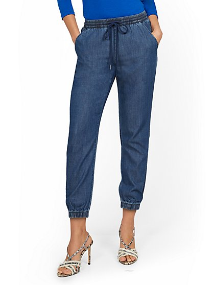High-Waisted Denim Drawstring Jogger Pant - Dark Blue Wash - New York & Company
