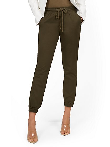 High-Waisted Denim Drawstring Jogger Pant - Green - New York & Company