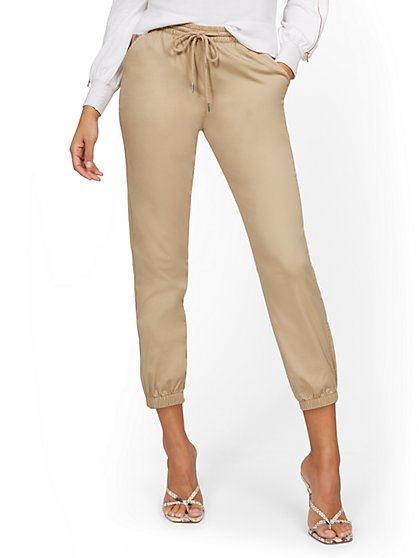 High-Waisted Denim Drawstring Jogger Pant - Khaki - New York & Company
