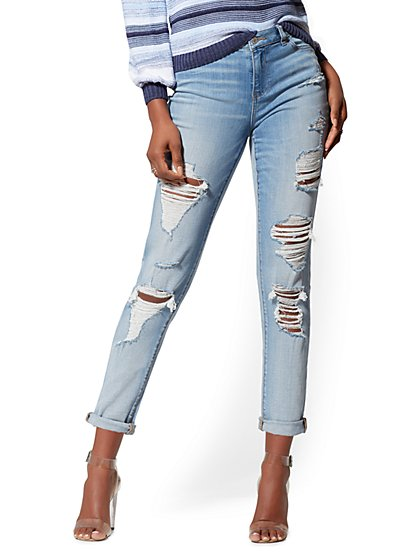 High-Waisted Destroyed Boyfriend Jeans - Blue Rock - New York & Company