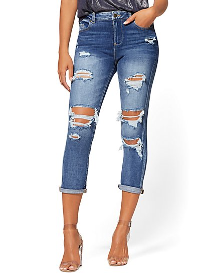 High-Waisted Destroyed Cropped Boyfriend Jeans - New York & Company