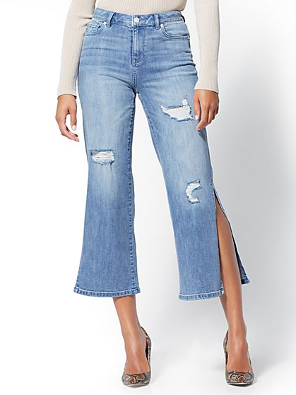 High-Waisted Destroyed Wide-Leg Jeans - Dazzler Blue - New York & Company