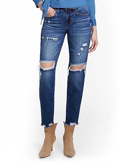 High-Waisted Distressed Blue Wash Dream Boyfriend Jeans - New York & Company