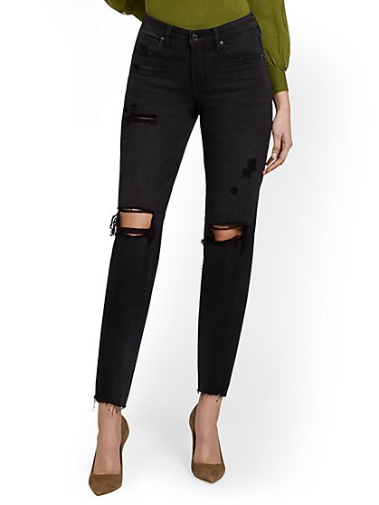 High-Waisted Distressed Dream Boyfriend Ankle Jeans - Black - New York & Company