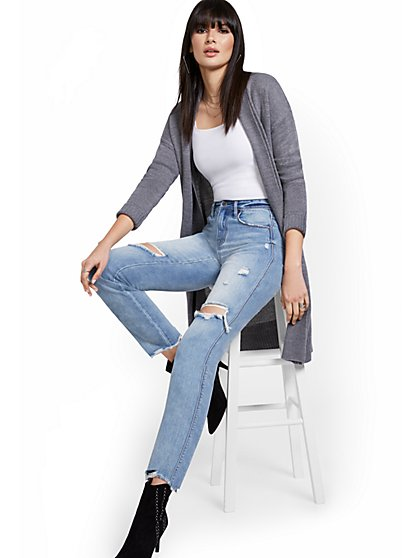 High-Waisted Distressed Dream Boyfriend Ankle Jeans - Light Wash - New York & Company