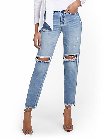 High-Waisted Distressed Light Wash Dream Boyfriend Jeans - New York & Company