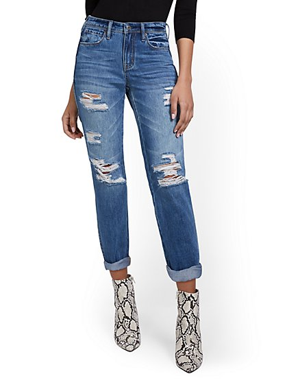 High-Waisted Distressed Medium Blue Wash Dream Boyfriend Ankle Jeans - New York & Company