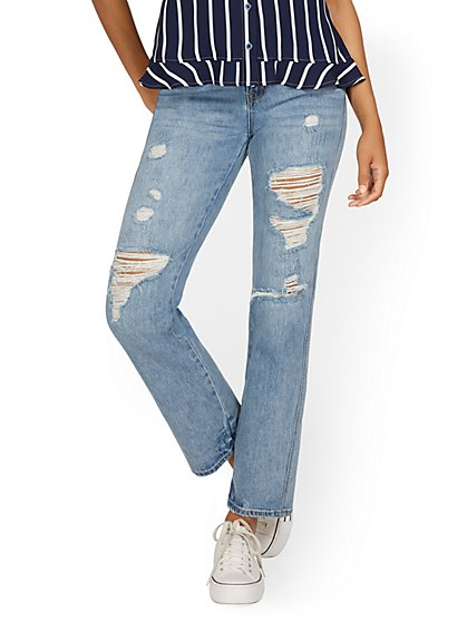 High-Waisted Distressed Relaxed Straight Jeans - Medium Blue Wash - New York & Company