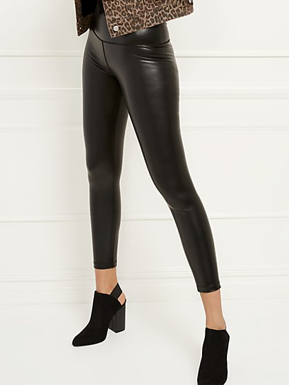 High-Waisted Faux-Leather Pocket Legging - New York & Company