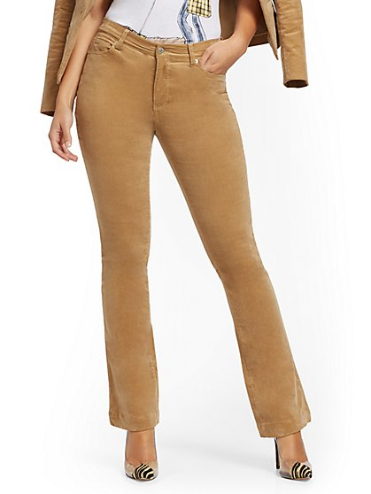 High-Waisted Flare Jeans - Corduroy - Camel - New York & Company