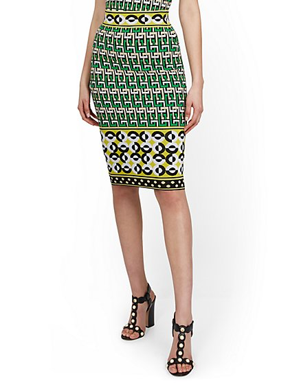 High-Waisted Geo-Print Sweater Pencil Skirt - New York & Company
