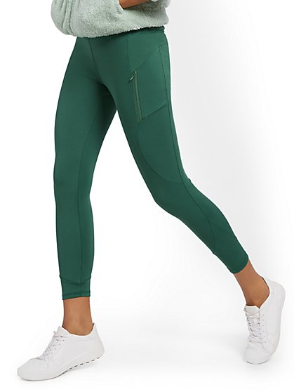 High-Waisted Geometric Seam 7/8 Legging - New York & Company