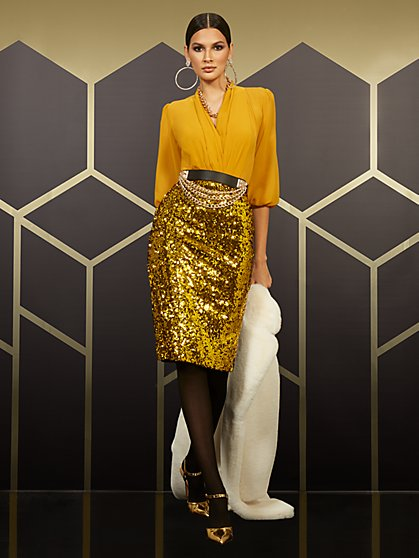 High-Waisted Gold Sequin-Front Skirt - New York & Company