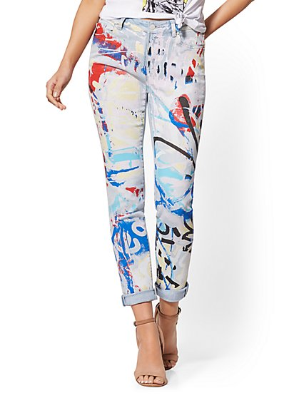 High-Waisted Graffiti-Print Boyfriend Jeans - New York & Company