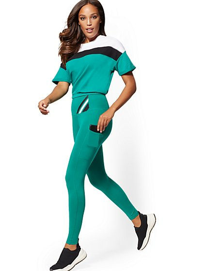 High-Waisted Green Pocket Legging - Soho Street - New York & Company