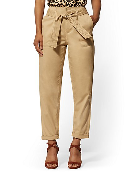 High-Waisted Khaki Paperbag-Waist Cargo Pants - New York & Company
