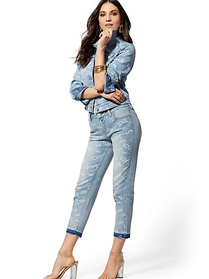 "High-Waisted ""Love""- Print Weekender Jeans - New York & Company"