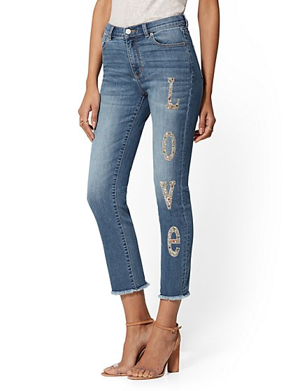 "High-Waisted ""Love"" Straight Leg Jeans - Blue Jam - New York & Company"