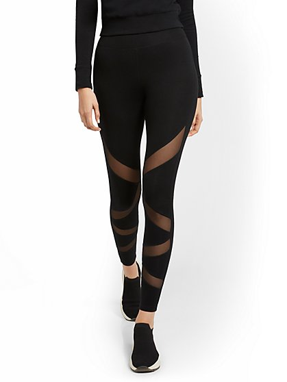 High-Waisted Mesh-Stripe Pocket Legging - New York & Company