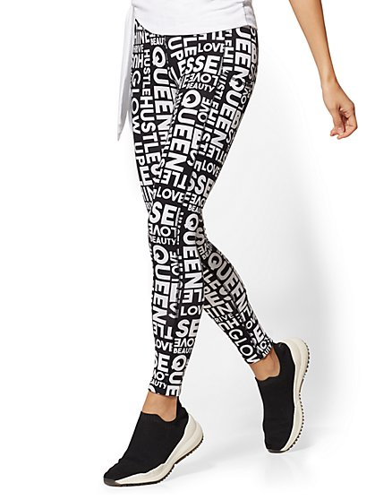 High-Waisted Message-Print Pocket Legging - Soho Street - New York & Company