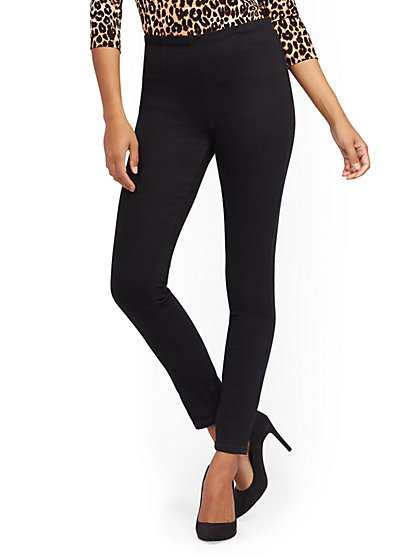 High-Waisted No-Gap Pull-On Legging - Black - New York & Company