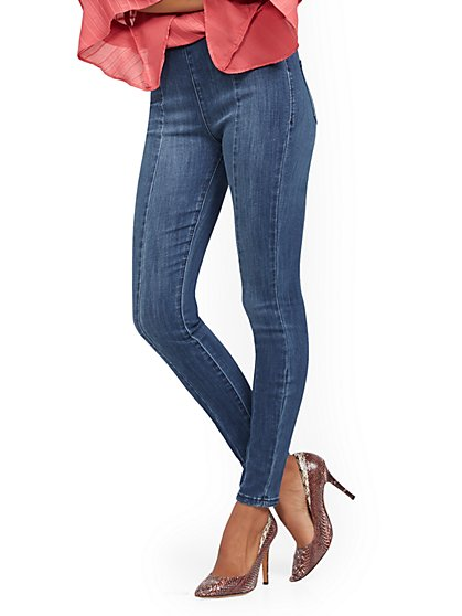 High-Waisted No-Gap Pull-On Legging - Brilliant Blue - New York & Company