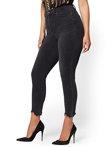 High-Waisted No-Gap Super-Skinny Ankle Jeans - Destroyed Hem - New York & Company