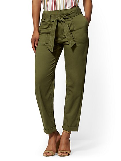 High-Waisted Paperbag-Waist Cargo Pants - Olive - New York & Company