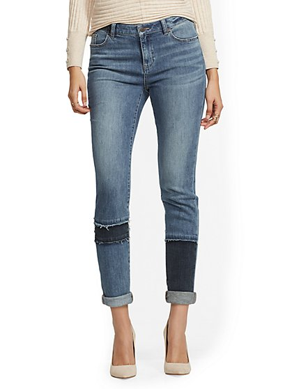 High-Waisted Patchwork Boyfriend Jeans - New York & Company
