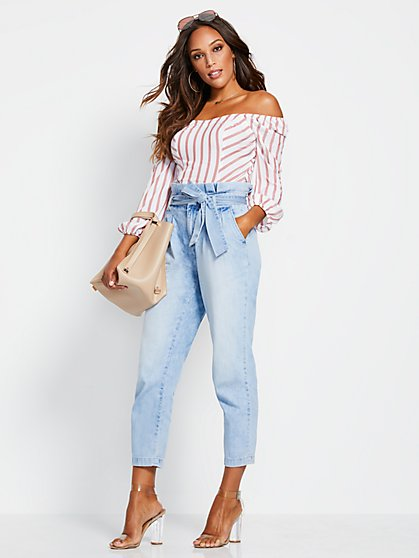 High-Waisted Pleated Paperbag-Waist Jeans - Sea Blue - New York & Company