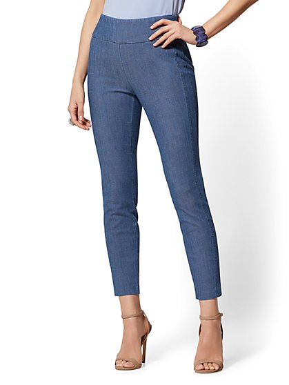High-Waisted Pull-On Ankle Pant - Blue - New York & Company