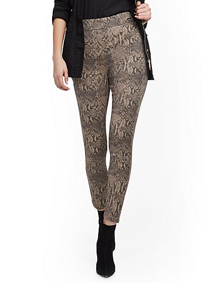 High-Waisted Pull-On Ankle Pant - Snake Print - New York & Company