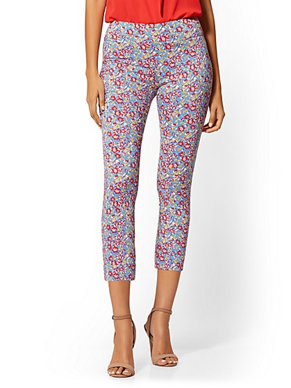 High-Waisted Pull-On Crop Pant - Blue Floral - New York & Company