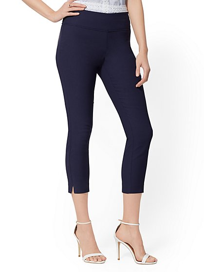 High-Waisted Pull-On Crop Pant - Piped - New York & Company