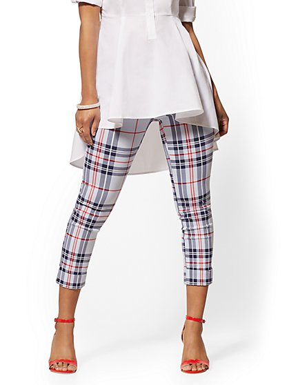 High-Waisted Pull-On Crop Pant - Plaid - New York & Company