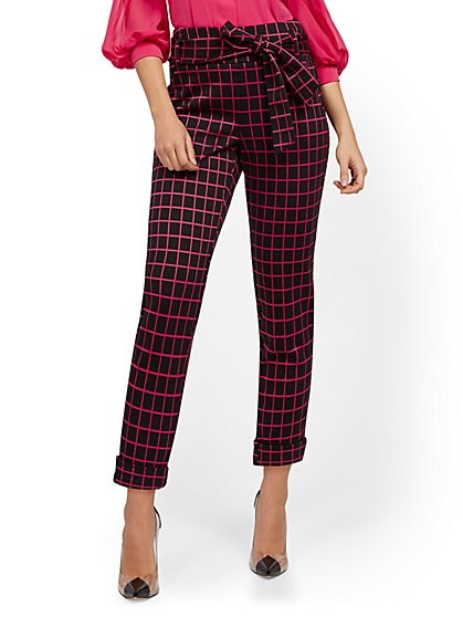 High-Waisted Pull-On Pant - Plaid - New York & Company