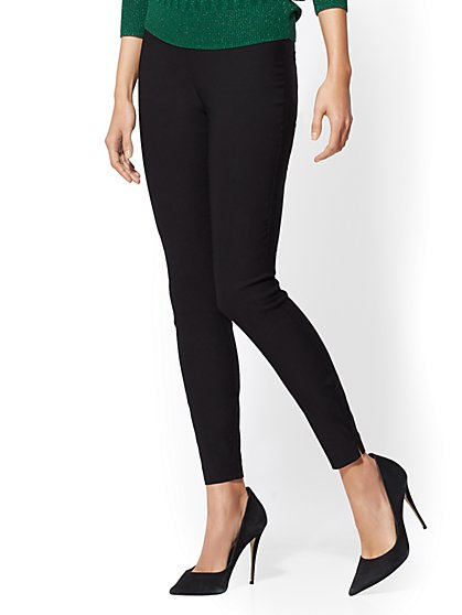 High-Waisted Pull-On Slim Leg Pant - 7th Avenue - New York & Company